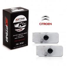 Подсветка двери светодиодная Optima Premium с логотипом CITROEN (в штатное место, комплект 2шт)