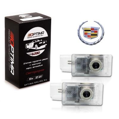 Подсветка двери светодиодная Optima Premium с логотипом CADILLAC (в штатное место, комплект 2шт)