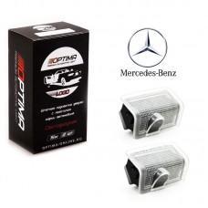 Подсветка двери светодиодная Optima Premium с логотипом MERCEDES BENZ E-class (в штатное место, комплект 2шт)