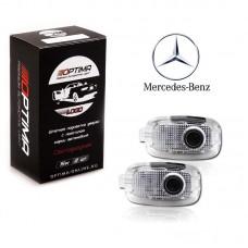 Подсветка двери светодиодная Optima Premium с логотипом MERCEDES BENZ C-class (в штатное место, комплект 2шт)