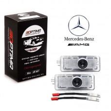 Подсветка двери светодиодная Optima Premium с логотипом MERCEDES BENZ AMG S-class (в штатное место, комплект 2шт)