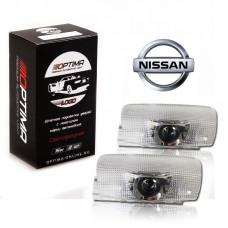 Подсветка двери светодиодная Optima Premium с логотипом NISSAN (в штатное место, комплект 2шт)