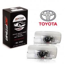 Подсветка двери светодиодная Optima Premium с логотипом TOYOTA (в штатное место, комплект 2шт)