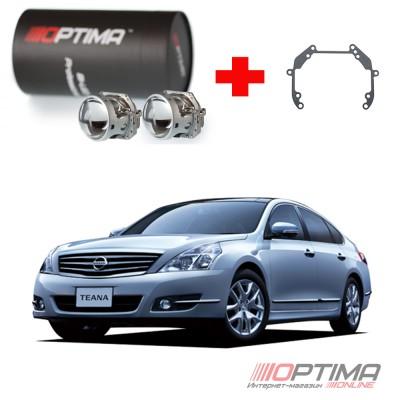 Набор для замены штатных линз Nissan Teana II (J32), рестайл (2011-2014) адаптивная система освещения AFS на Biled Optima Professional