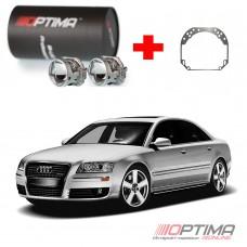 Набор для замены штатных линз Audi A8 (D3) II дорестайл и рестайл (2003-2009) на Biled Optima Professional