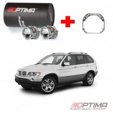 Набор для замены штатных линз BMW X5 I (E53) дорестайл и рестайл (1999-2006) на Biled Optima Professional