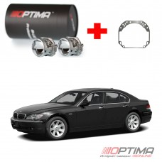 Набор для замены штатных линз BMW 7-series IV (E66) дорестайл и рестайл (2001-2008) на Biled Optima Professional
