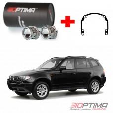 Набор для замены штатных линз BMW 3-series Х3 I (Е83) дорестайл и рестайл (2003-2010) на Biled Optima Professional