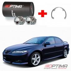 Набор для замены штатных линз Mazda 6 I (GG) дорестайл и рестайл (2002-2008) на Biled Optima Professional