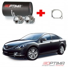 Набор для замены штатных линз Mazda 6 II (GH) Галоген дорестайл и рестайл (2007-2012) на Biled Optima Professional