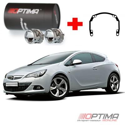 Набор для замены штатных линз Opel Astra J GTC IV галоген (2011-2015) на Biled Optima Professional