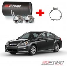 Набор для замены штатных линз Subaru Legacy V (BM) дорестайл и рестайл (2009-2015) на Biled Optima Professional